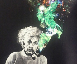 einstein, smoke, and galaxy image