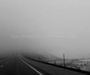 black and white, fog, and quote image