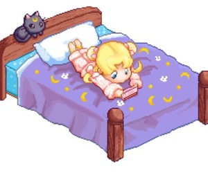 bed, pixel, and sailor moon image
