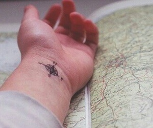 tattoo, hand, and travel image