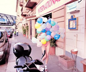 balloons, girl, and street image