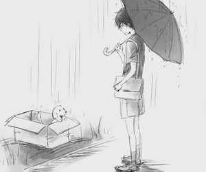 anime, dog, and rain image