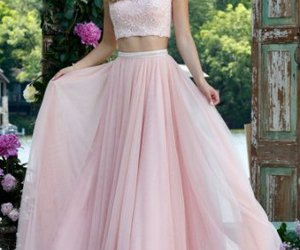 pink prom dress and two piece prom dress image