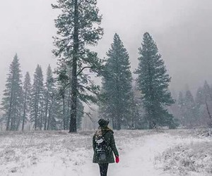 snow, girl, and travel image