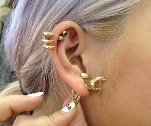 choker, earring, and gold image