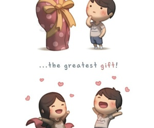 love, couple, and gift image