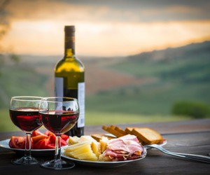bottle, cheese, and wine image