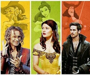 once upon a time, belle, and captain hook image