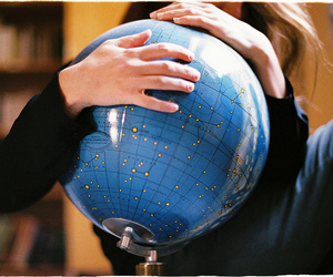 world, blue, and globe image