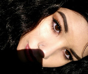 brunette, dark hair, and brows image