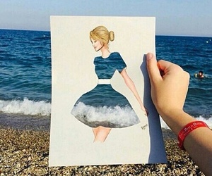 art, sea, and drawing image