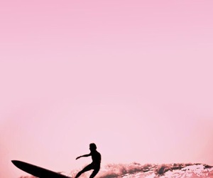 pink, beach, and surf image