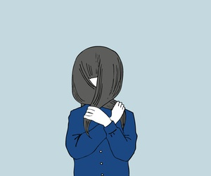 girl, anime, and blue image