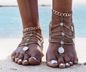 gold, ankle, and bohemian image