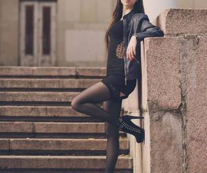 high heels, leather jacket, and pale image