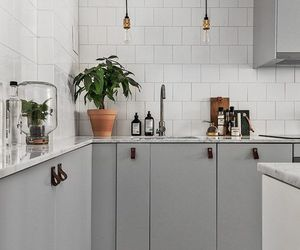 plants, kitchen, and Scandinavian image