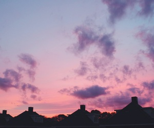 clouds, pink, and sunset image