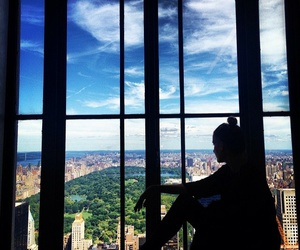 girl, sky, and city image