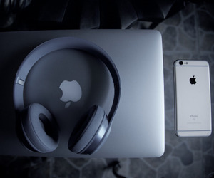 apple, headphones, and iphone image