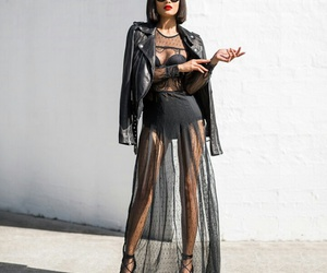 black, dress, and long image