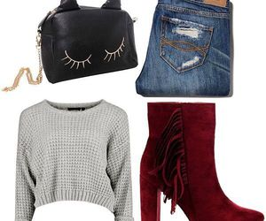 ankle boots, boots, and fringe ankle boots image