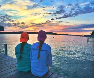 preppy, sunset, and vineyard vines image