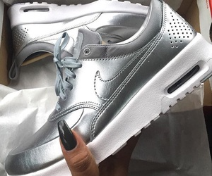 nike, silver, and shoes image