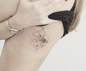 geometric, tattoo, and flower image