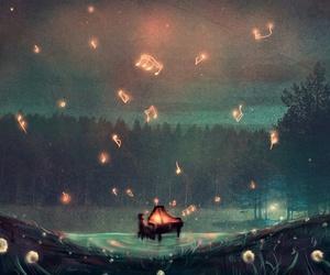 music, piano, and night image