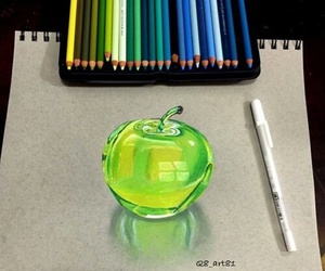 drawing, apple, and art image