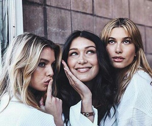 model, bella hadid, and hailey baldwin image