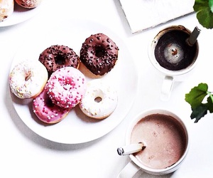 coffee, drink, and donut image