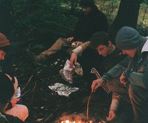 friends, fire, and boy image
