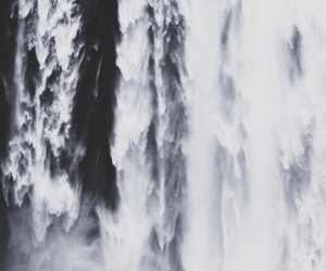 photography, waterfall, and black and white image
