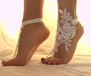 barefoot sandals, beach wedding, and accessory image