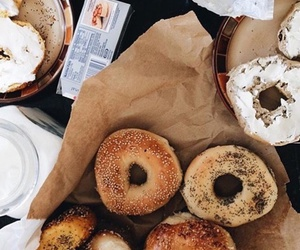 food, donuts, and bagel image