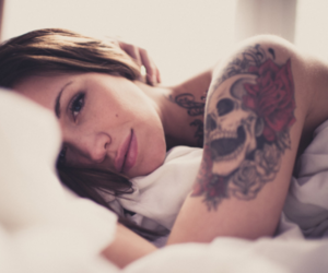 brunette, girl, and tattoo image