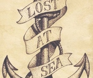 anchor, sea, and drawing image