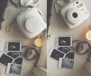 candle and polaroid image