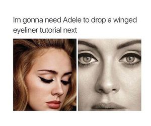 Adele, funny, and makeup image