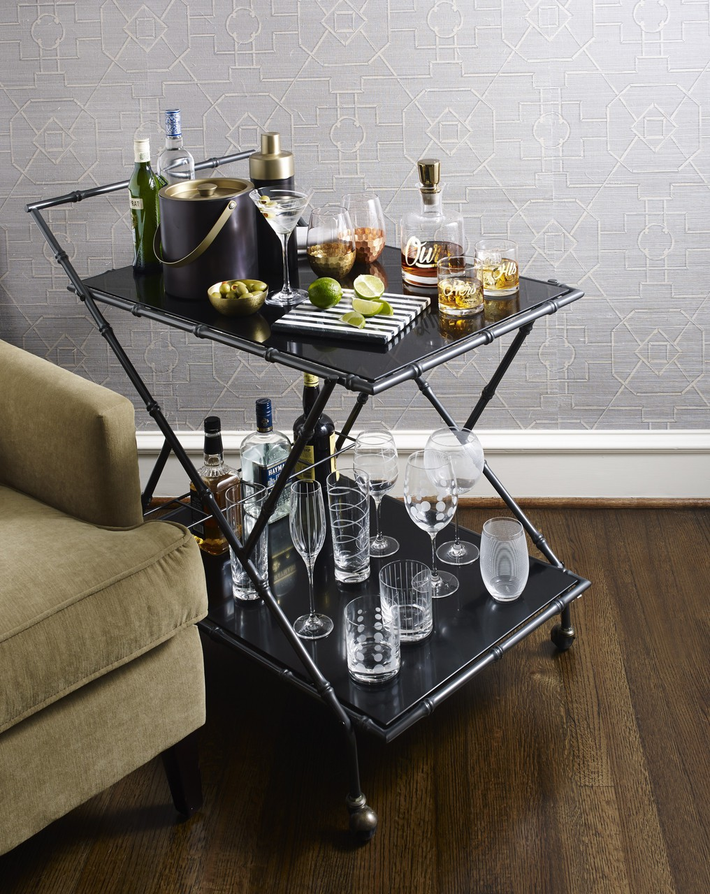 bar, cart, and decor image