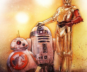 star wars, bb-8, and c3po image