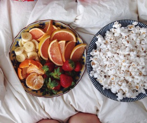 food, fruit, and popcorn image