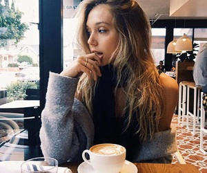 girl, coffee, and alexis ren image