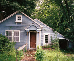 blue, cabin, and forest image