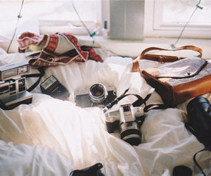 bed, camera, and vintage image