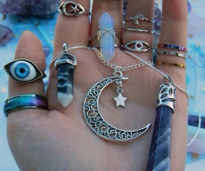 moon, rings, and necklace image