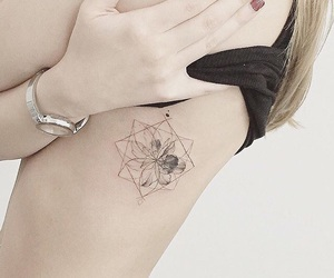 black, blonde, and flower image