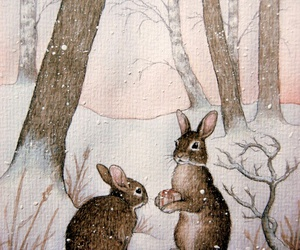 rabbit, winter, and bunny image