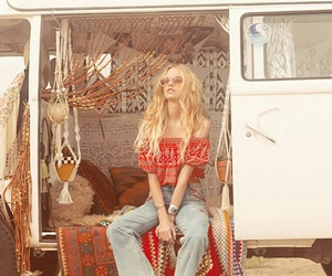 bohemian, girl, and red image